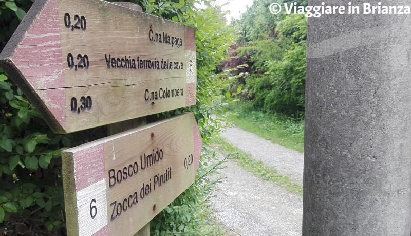L'ingresso del sentiero 6 del Parco della Brughiera Briantea da via Santa Maria