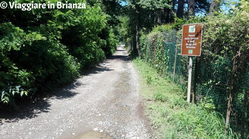 L'inizio del sentiero 3 del Parco della Brughiera Briantea