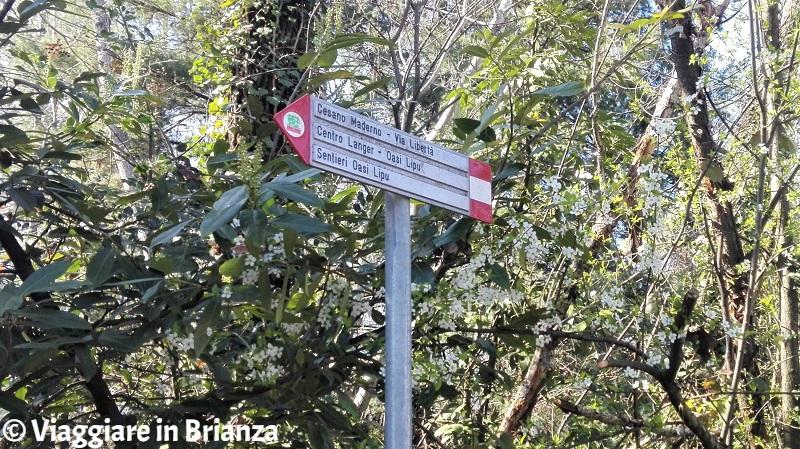 Il cartello della pista ciclabile 22 del Parco delle Groane