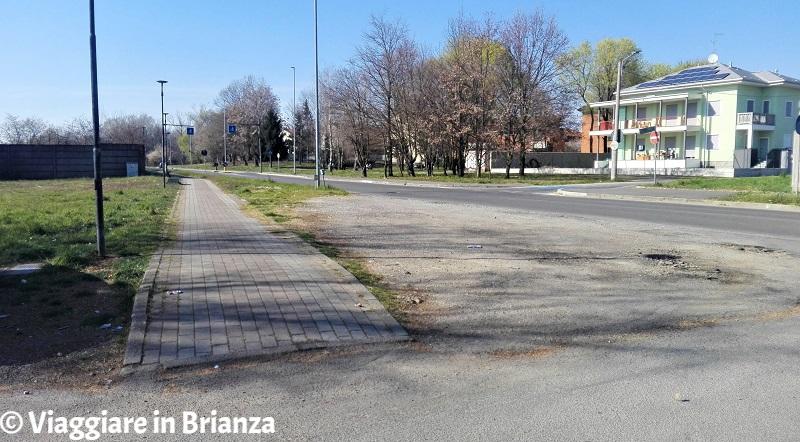 L'inizio della pista ciclabile 25 del Parco delle Groane