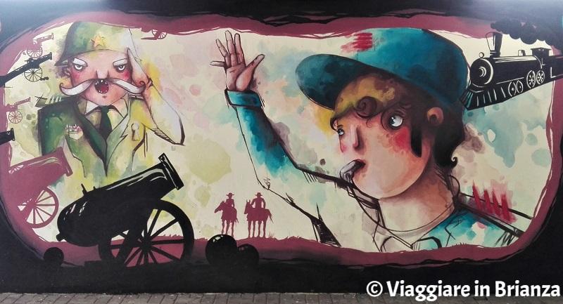 Murales a Seregno, il capostazione della Freccia Azzurra