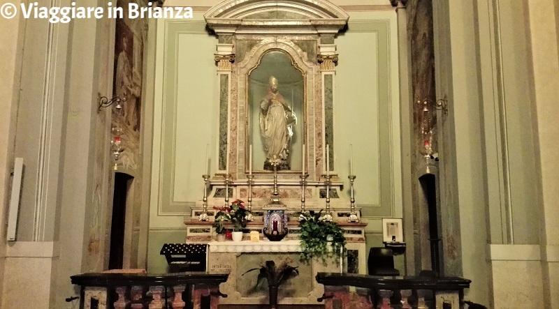 La statua di Sant'Agostino nella Chiesa di Cassago Brianza