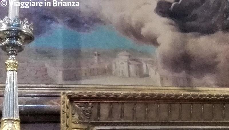 Il dettaglio del borgo di Seregno nel quadro della Basilica di San Giuseppe